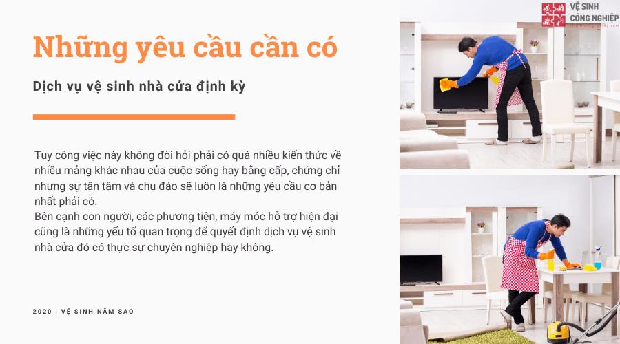 Nhưungx yêu cầu cần có của dịch vụ vệ sinh nhà cửa định kỳ